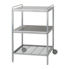 IKEA - UDDEN, Kitchen trolley, Gives you extra storage, utility and work space.The trolley has 2 adjustable legs and 2 legs with castors; easy to move and roll in under UDDEN console.Top shelf and 1 fixed shelf in stainless steel, a hygienic, strong and durable material that is easy to keep clean.1 fixed wire shelf for convenient storage of pots, pans, etc.The rails can also be used to hang towels on.