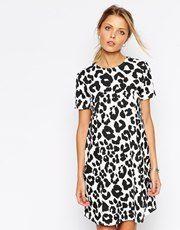 ASOS Swing Dress in Textured Animal Print