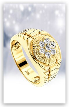 This 14K Gold Mens Rolex Style Diamond Ring showcases 0.45 ctw of sparkling round diamonds, each masterfully prong-set in a lustrous gold frame.