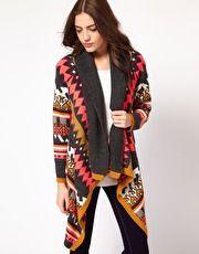 Slouchy Intarsia Knit Draped Cardigan - VILA - New Fashioned