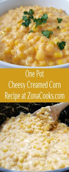 One Pot Cheesy Creamed Corn has a delicious combination of buttery corn mixed with cream cheese, cheddar cheese, and seasonings. This cheesy version is so much better than a store bought can of creamed corn. It is easy and quick to make, ready in just 15 minutes. #onepan #onepot #CreamedCorn #SideDish #EasyRecipe #BestRecipe #SmallBatch Side Dish Recipes, Dinner Recipes, Creamed Corn Recipes, Cheesy Corn, Cooking For One, One Pot, Vegetable Side Dishes, Meals For Two, Cheddar Cheese