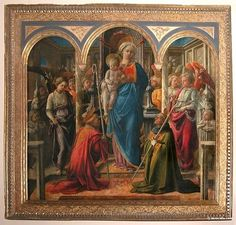 Madonna and Child with Angels, St Frediano and St Augustine. Panel, 208 cm x 244 cm - Musée du Louvre, Paris . Lippi