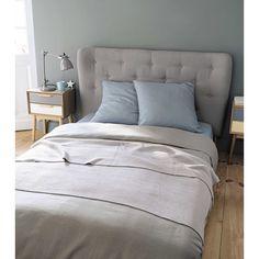Testata da letto imbottita vintage grigia in tessuto L 160 cm Iceberg | Maisons du Monde