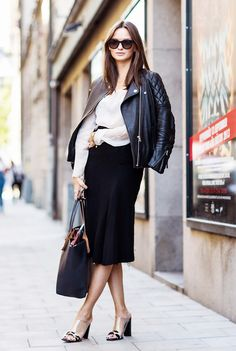 Leather moto jacket + black pencil skirt + nude mules