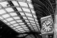 Photography - Black and white photography - Deepest darkest Peru - Paddington station railway clock - monochrome -12x8-  via Etsy.