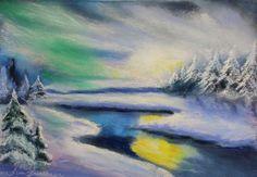 pastel painting landscape maastik pastellmaal virmalised nordic lights jõgi talvel Keiu Kuresaar