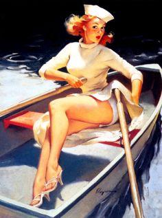 """Hard to Handle"" by Gil Elvgren 1957"
