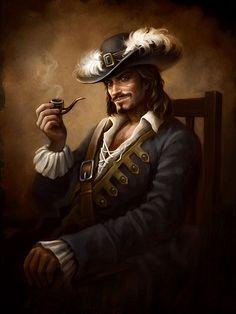 m Bard Pirate pipe urban coastal water ship Inspiring Illustrations by Elena Berezina Pirate Art, Pirate Life, Pirate Theme, Fantasy Portraits, Character Portraits, Character Art, Dnd Characters, Fantasy Characters, Charles Vane