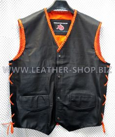 Mens MC leather Vest with Club colors MLVB732 orange braid, side lace and inside lining pic