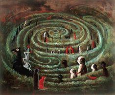 """Labyrinth, 1991 by Leonora Carrington, UK-born Mexican artist, surrealist painter, and novelist. Max Ernst, Art Visionnaire, Labyrinth Maze, Mexican Artists, Visionary Art, Surreal Art, Dark Art, Oeuvre D'art, Female Art"
