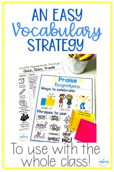 As teachers of ELLs, we know that we need to focus on vocabulary development, but sometimes it can be boring or the students can be unengaged. Not anymore! Using this strategy will guarantee engagement with your students in an interactive way, that will push students to use academic vocabulary together. Check out this strategy PLUS grab the FREE Strategy Pack that is included! #ellstrategies #englishlanguagelearners #ellstrategiesteaching #firstgradestrategies #secondgrade… Ell Strategies, Vocabulary Strategies, Vocabulary Instruction, Academic Vocabulary, Teaching Vocabulary, Vocabulary Activities, Vocabulary Words, English Language Learners, Language Arts