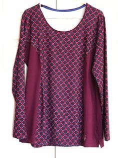 LANDS END Bright Eggplant Geo Active Long Sleeve Tunic Top Size XL 18 #LandsEnd #ShirtsTops