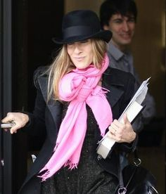 "SJP wearing the original ""cashmiracle"": A Pink Pashmina Scarf. Get the look with Jasmin & Jay Pashmina Scarf in ""Peony"". Shop here: http://jasminandjay.com/products/product-7"