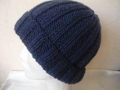 bonnet cote 2/2   bonnet homme bleu marine 30% laine très doux : Chapeau, bonnet par ...