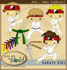 Karate Kid Boy martial arts clipart images for scrapbooking and card making. $3.99, via Etsy.