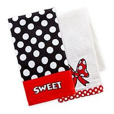 Disney Minnie Mouse Dish Towel Set | Disney StoreMinnie Mouse Dish Towel Set - Minnie's happy to help out with a spot of drying up using this dish towel set. Both cotton towels feature different designs with ''Sweet'' Minnie's signature polka dots covering one towel while a large bow appliqu� decorates the other.
