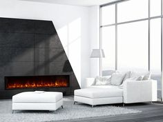 Modern Flames - The Landscape FullView 2 Series built-in electric fireplace is the first of its kind creating a perfect substitute for a linear gas fireplace. This unique frameless design allows for edge to edge flame presentation Indoor Electric Fireplace, Wall Mount Electric Fireplace, Electric Fireplaces, Indoor Fireplaces, Gas Fireplaces, Linear Fireplace, Fireplace Mantels, Fireplace Modern, Fireplace Wall