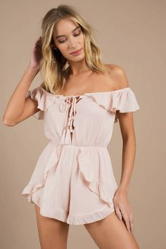 Looking for the Eileen Blush Stripe Ruffle Romper? | Find Rompers and more at Tobi! - 50% Off Your First Order - Fast & Free Shipping For Orders over $50 - Free Returns within 30 days!
