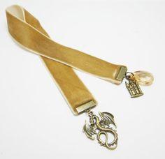 Fawn Tan Velvet Ribbon Bookmark Dragon Castle by WhispySnowAngel, $12.00