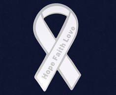 This white ribbon magnet is approximately 4 inches tall and is perfect for your refrigerator or car. This white ribbon magnet says Hope Faith