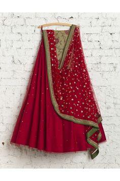Red Silk Embroidered Lehenga By Swati Manish
