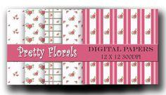 Digital paper pack - Pretty florals - Scrapbooking and Craft digital paper - Instant download