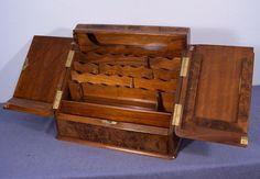 Antique English Burl Walnut Writing Stationary Box/Slope Mid-1800's