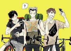 kuroo, bokuta, and oikawa bike trip!