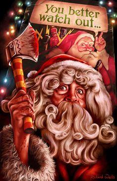 """Christmas Evil"" by Richard Wells 🎅🎄 Dark Christmas, Christmas Poster, Christmas Art, Vintage Christmas, Xmas, Christmas Stuff, Christmas 2019, Horror Movie Posters, Horror Films"