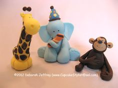 Cupcake Stylist: Cupcake Stylist Fondant Topper of the Day - Days 13 & 14: Giraffe, Elephant & Monkey