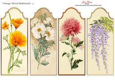 Vintage Floral Bookmarks Set 3 on Craftsuprint designed by June Young - Four…
