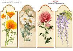 Vintage Floral Bookmarks Set 3 on Craftsuprint designed by June Young - Four…