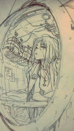 The focal point is o The focal point is obviously the girl. The shelf and wall tiles of the submarine all lead towards her face. Art Drawings Sketches, Cool Drawings, Pretty Art, Cute Art, Cartoon Kunst, Perspective Art, Poses References, Anime Sketch, Art Reference Poses