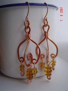 Pretty copper wire wrap earrings