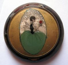 Unusual Art Deco Glitter Lady Celluloid / Bakelite Flapper Compact 1920s
