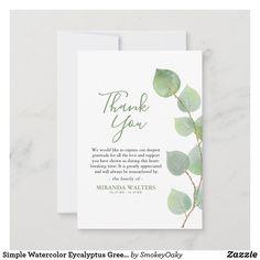 Simple Watercolor Eycalyptus Greenery Sympathy Thank You Card | Zazzle.com