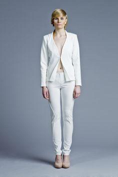 Sculptural, minimal fashion, white jacket, Designer: Boska by Eliza Borkowska Look Book A/W 2013/14 Model: Magda Roman Photos: Ewelina Petryka & Krystian Szczęsny Make up: Klaudia Majewska