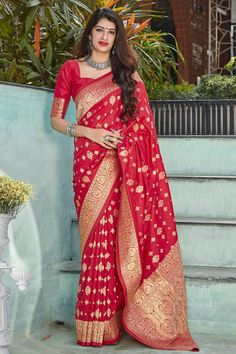 Charming Red Color Designer Banarasi Silk Saree With Blouse #banarasisaree #indiansarees #sarees #weddingsarees #dress #indiandress #womensfashion #clothes #diyandcrafts #lifestyle #sareestyle #wedding #silksareeblousedesigns #silkweddingdress Art Silk Sarees, Banarasi Sarees, Lehenga Choli, Red Silk, Pink Silk, Saree Wedding, Wedding Wear, Salwar Kameez, Kurti