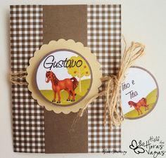 Convite Aniversário Artesanal com tag - Fazendinha marrom e bege cavalinho