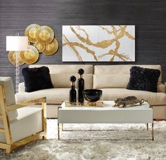 Golden lighting is a must have. As an interior designer, you can discover modern luxury living room design ideas combining luxurious materials with a light gold Glam Living Room, Living Room Interior, Living Room Decor, Gold Living Rooms, Luxury Living Rooms, Living Area, Black And Gold Living Room, Living Room Furniture Inspiration, Home And Deco