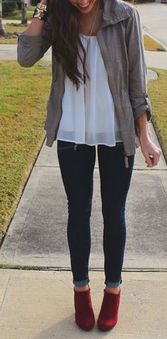 #fall #outfits / jacket + burgundy booties