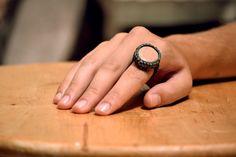 macrame ring • stone • boho