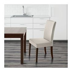 IKEA - HENRIKSDAL, Chair, Linneryd natural,  , , You sit comfortably thanks to the high back and seat with polyester wadding.The chair legs are made of solid wood, which is a durable natural material.Removable cover; easy to put on and take off.