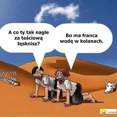 Teściowa_Na pustyni Weekend Humor, Haha, Jokes, Funny, Movie Posters, Polish Sayings, Husky Jokes, Ha Ha, Film Poster