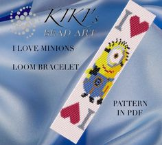 Bead loom pattern - I love Minions LOOM bracelet pattern in PDF - instant download