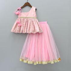 Pre Order: Pink Peplum Top With Lehenga Kids Indian Wear, Kids Ethnic Wear, Kids Dress Wear, Kids Gown, Kids Wear, Kids Frocks Design, Baby Frocks Designs, Baby Girl Dress Patterns, Baby Dress Design