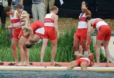 Canadian Men's Eight celebrating silver in London.