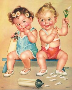 More of Charlotte Becker work, Twins, Triplets: Becker - Four Souls with a Single Thought Baby Images, Baby Pictures, Cute Pictures, Vintage Pictures, Vintage Images, Adult Coloring Pages, Coloring Books, Children's Book Illustration, Illustrations