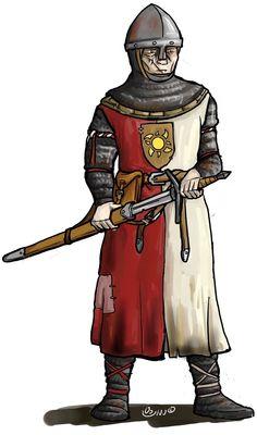 Larp group consept, Enfants Lumière soldier. chainmail, surcoat. Couldbeworse-comic.com