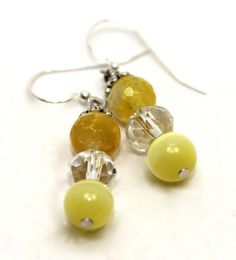 1.5 inches long Lemon Yellow Faceted Agates, Tiger Eye and Crystals Earrings   AyaDesigns - Jewelry on ArtFire